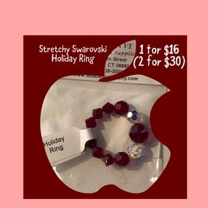 Fun Stretchy Red Swarovski Holiday Ring